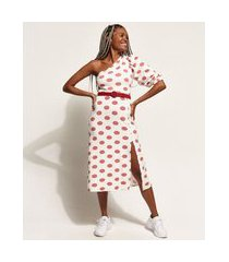 vestido feminino midi um ombro só estampado de poá com fenda manga bufante off white