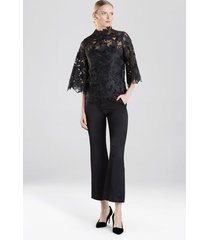 guipure lace blouse with cami, women's, black, size 2, josie natori