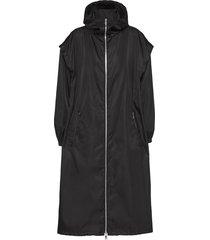 prada drop-shoulder hooded coat - black