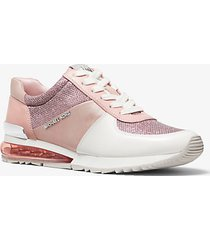 mk sneaker allie extreme in materiale misto - smokey rose - michael kors
