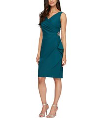 women's alex evenings side ruched cocktail dress, size 16 - blue