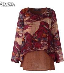 zanzea camisa casual con cuello redondo para mujer blusa suelta con estampado floral tallas grandes -rojo