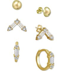 argento vivo 3-pc. set cubic zirconia stud & hoop earrings set in 18k gold-plated sterling silver