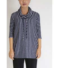 women's cozy stripe cowl neck side ruched top