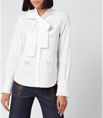 see by chloé women's bow tie blouse - confident white - eu 36/uk 8