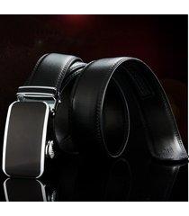 cinturón de hombres, cinturón de cuero con hebilla-negro