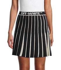pleated knit a-line skirt