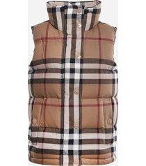 burberry padded cotton vest with tartan motif
