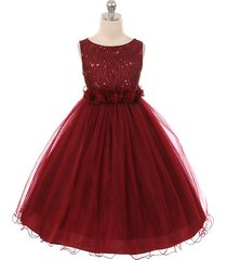 burgundy sequin top tulle flower girl dance holiday bridesmaid birthday dresses