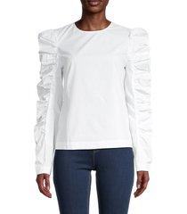 english factory women's puffed -sleeve top - white - size xs