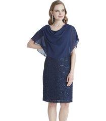 vestido de gaza y lentejuelas azul lorenzo di pontti
