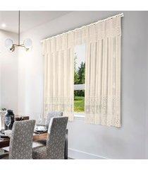 cortina valencia bule renda marfim interlar 2,00x1,20x20cm