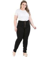calça feminina denin legging com zíper plus size