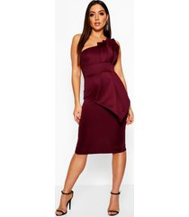 one shoulder pleated detail midi dress, berry