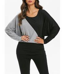 batwing sleeve contrast blouson t-shirt