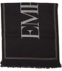 emporio armani black wool scarf