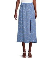 french connection women's cersier verona floral midi skirt - chalk blue - size 8