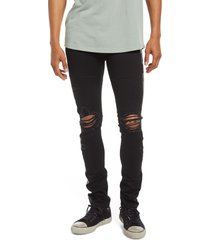 cult of individuality punk super skinny ripped stretch jeans, size 30 in black at nordstrom