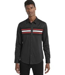 camisa ls luxe stripe inset shirt negro guess