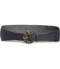 women's lafayette 148 new york tortoise resin buckle leather & raffia belt