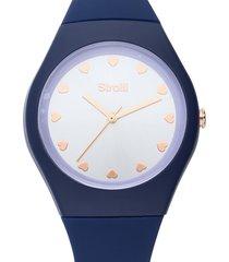 santa clara - orologio cinturino blu in policarbonato, quadrante argento per donna