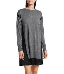 sadie merino wool & silk-blend shift sweater dress