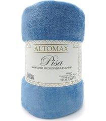 manta microfibra flannel solteiro pisa 1,50x2,20 - altomax - azul denim - rosa - dafiti