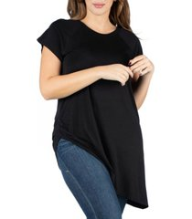 24seven comfort apparel women's plus size asymmetric short sleeve t-shirt