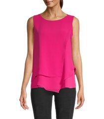 calvin klein women's tiered-hem blouse - cerise - size xl