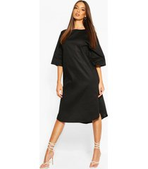 cotton roll sleeve oversized midi dress, black