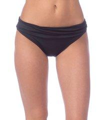 women's la blanca shirred banded hipster bikini bottoms, size 6 - black