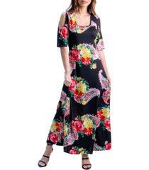 women's bold floral print cold shoulder maxi dress