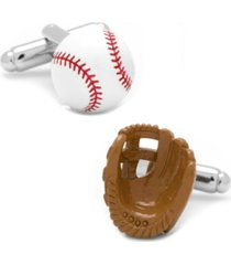 3d baseball and glove enamel cufflinks