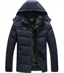chaqueta capota abrigo hombre invierno gruesa 1298 azul
