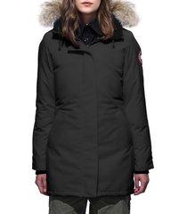 women's canada goose victoria fusion fit down parka with genuine coyote fur trim, size medium - black