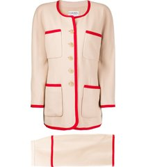 chanel pre-owned contrast trimming skirt suit - neutrals