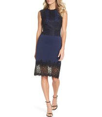 women's tadashi shoji lace trim sheath dress, size 16 - blue