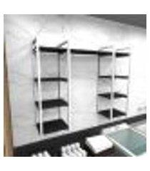 prateleira industrial lavanderia aço cor branco 120x30x98cm cxlxa cor mdf preto modelo ind52plav