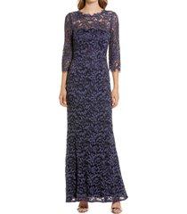 women's eliza j lace bateau neck mermaid gown, size 10 - blue