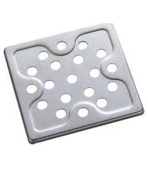 grelha quadrada para ralo meber 10cm aço inox cromada