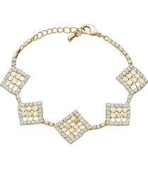bracciale con strass e dettagli rombo in metallo dorato per donna