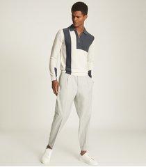 reiss braydon - colour block zip neck polo shirt in steel, mens, size xxl