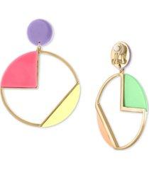 rachel rachel roy gold-tone multicolor geometric circle drop clip-on earrings
