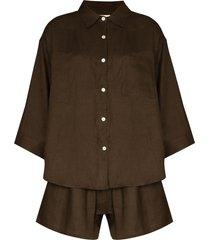deiji studios button-up two-piece pajama set - green
