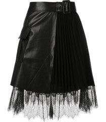 self-portrait lace-trimmed belted mini skirt - black