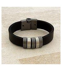 leather wristband bracelet, 'spatial shine in black' (brazil)