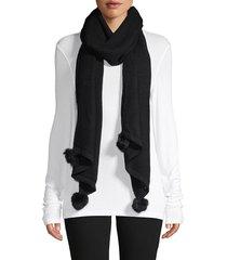 la fiorentina women's textured rabbit fur pom-pom scarf - emerald
