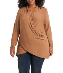 1.state cross front knit top, size 3x in wild oak at nordstrom