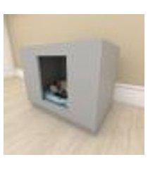 mesa de cabeceira bercinho casinha para gato em mdf cinza