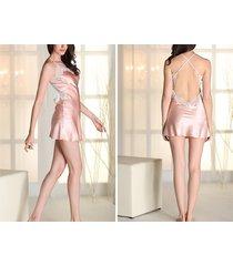 women long nightgown satin sleepwear straps nightdress lingerie pajama xs s m l